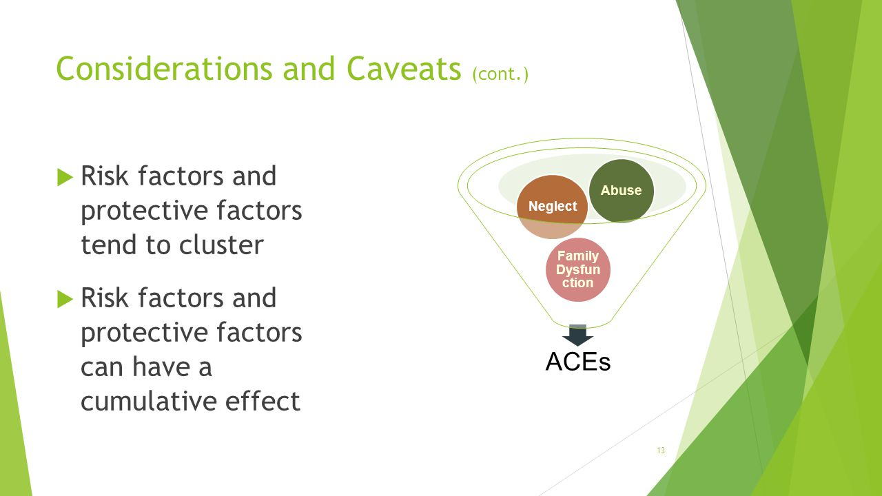 Considerations and Caveats (cont.)  Risk factors and protective factors tend to cluster  Risk factors and protective factors can have a cumulative effect ACEs Family Dysfun ction NeglectAbuse 13