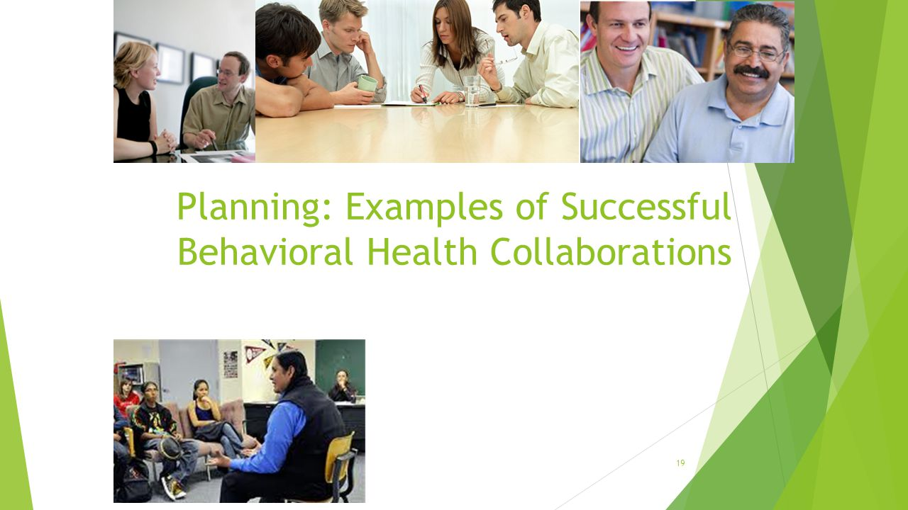 Planning: Examples of Successful Behavioral Health Collaborations 19