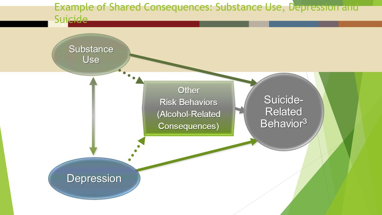 Example of Shared Consequences: Substance Use, Depression and Suicide 9 Other Risk Behaviors (Alcohol-Related Consequences) Depression Substance Use Suicide- Related Behavior 3