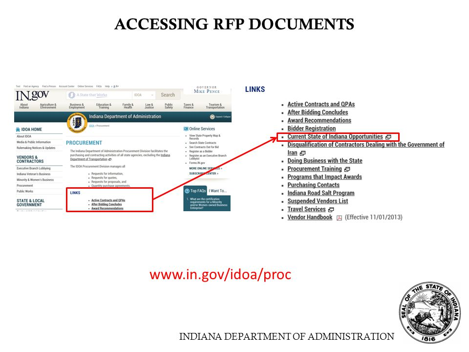 INDIANA DEPARTMENT OF ADMINISTRATION ACCESSING RFP DOCUMENTS www.in.gov/idoa/proc