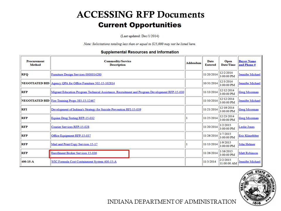 INDIANA DEPARTMENT OF ADMINISTRATION ACCESSING RFP Documents