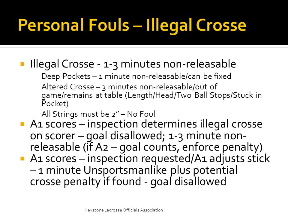  Illegal Crosse - 1-3 minutes non-releasable Deep Pockets – 1 minute non-releasable/can be fixed Altered Crosse – 3 minutes non-releasable/out of game/remains at table (Length/Head/Two Ball Stops/Stuck in Pocket) All Strings must be 2 – No Foul  A1 scores – inspection determines illegal crosse on scorer – goal disallowed; 1-3 minute non- releasable (if A2 – goal counts, enforce penalty)  A1 scores – inspection requested/A1 adjusts stick – 1 minute Unsportsmanlike plus potential crosse penalty if found - goal disallowed Keystone Lacrosse Officials Association
