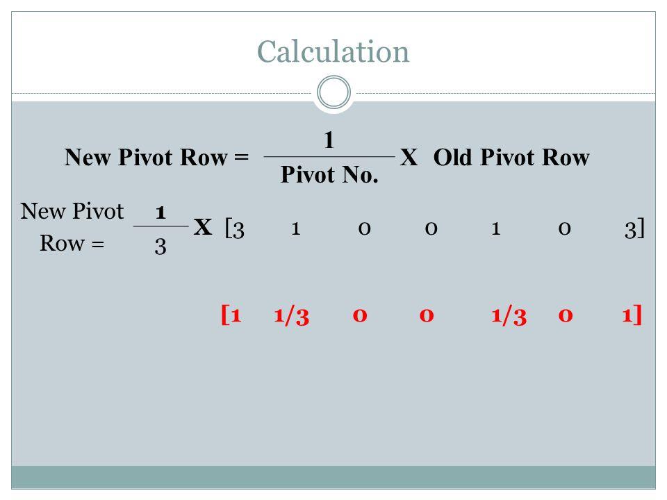 Calculation [11/3 0 0 1/3 0 1] New Pivot Row = 1 XOld Pivot Row Pivot No. New Pivot Row = 1 X[3100103] 3