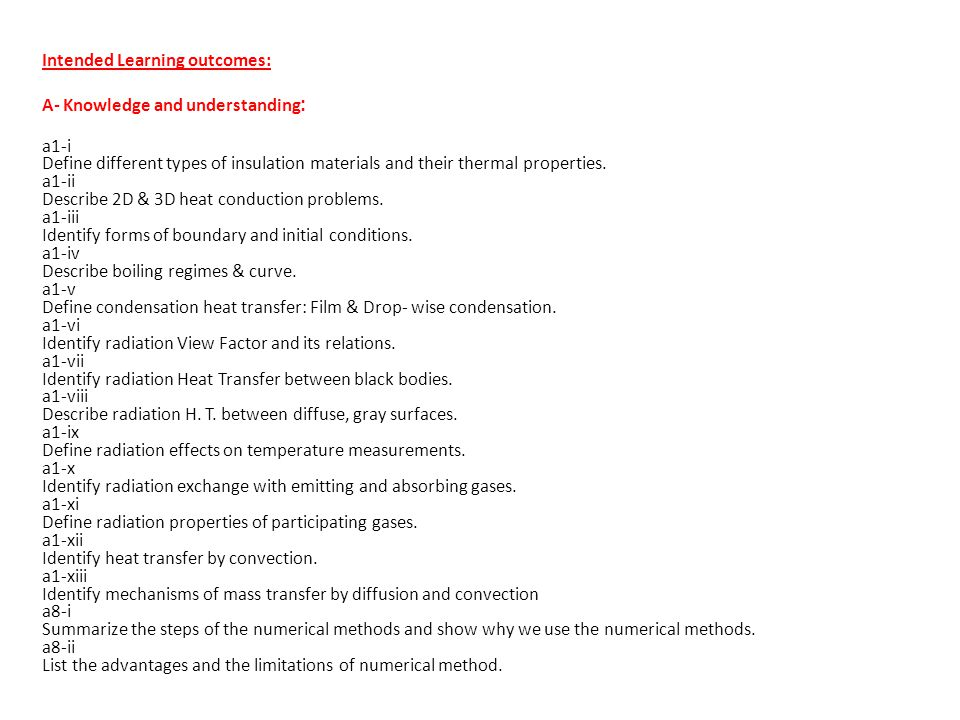 Intended Learning outcomes: A- Knowledge and understanding: a1-i Define different types of insulation materials and their thermal properties.