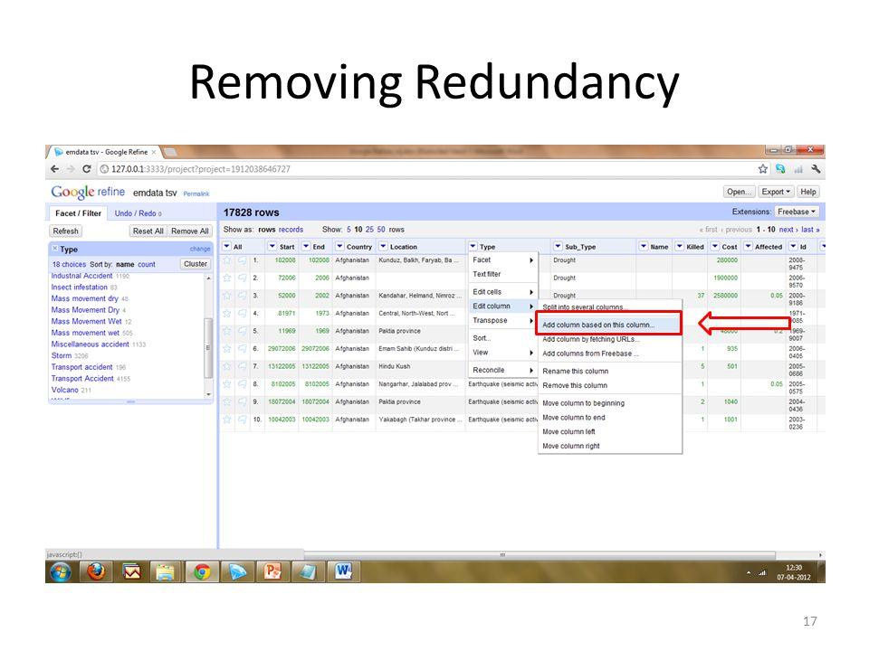 Removing Redundancy 17