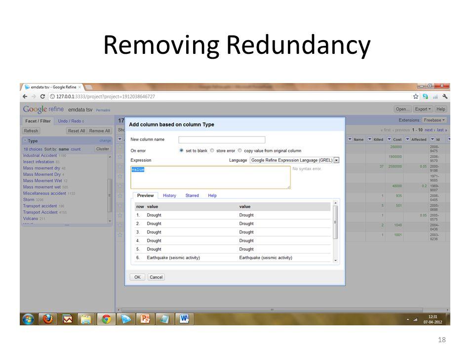 Removing Redundancy 18