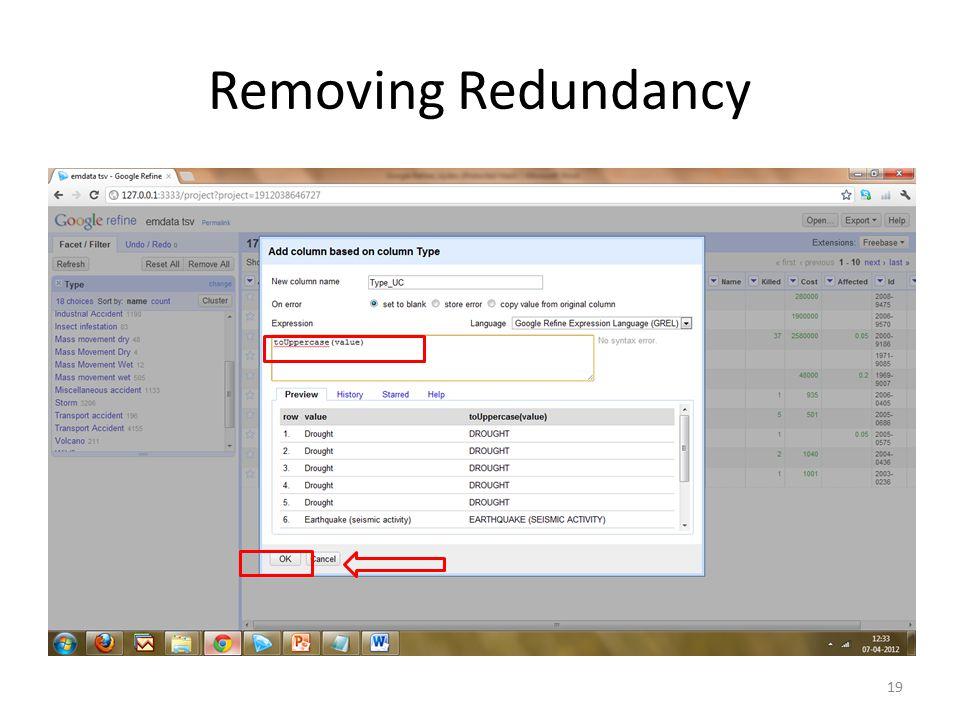 Removing Redundancy 19