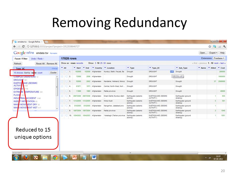 Removing Redundancy 20 Reduced to 15 unique options
