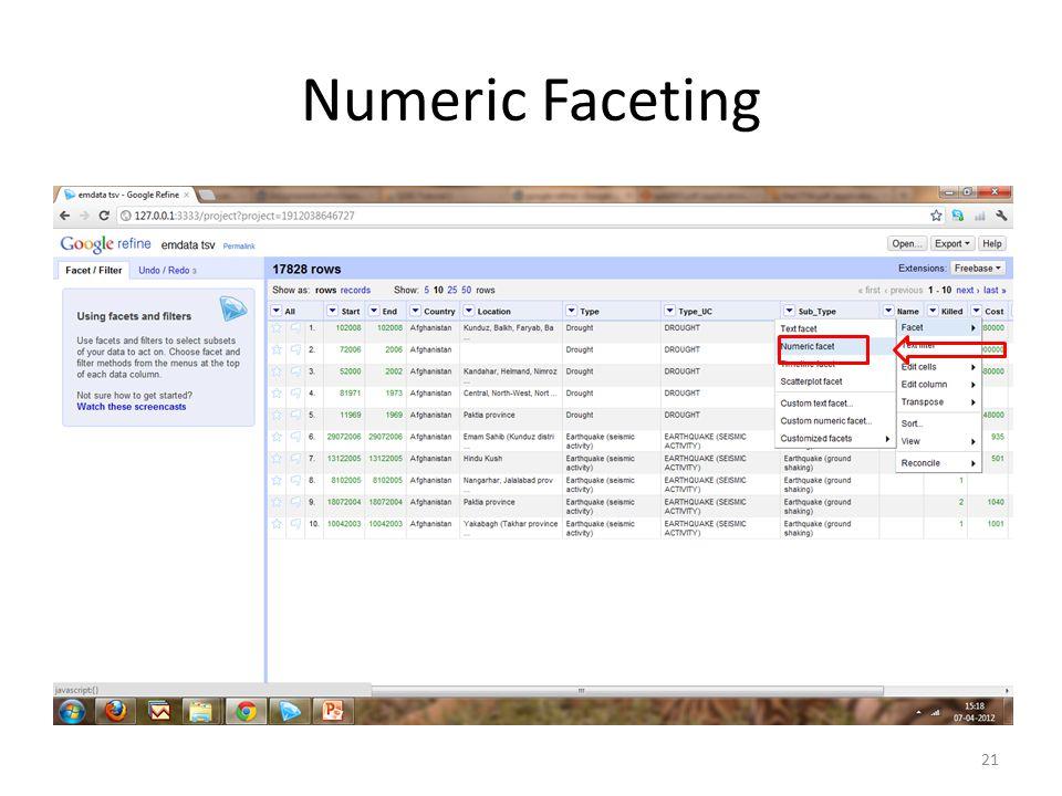 Numeric Faceting 21