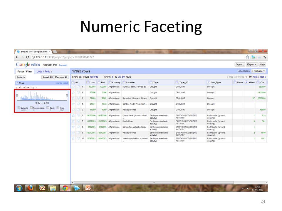 Numeric Faceting 24