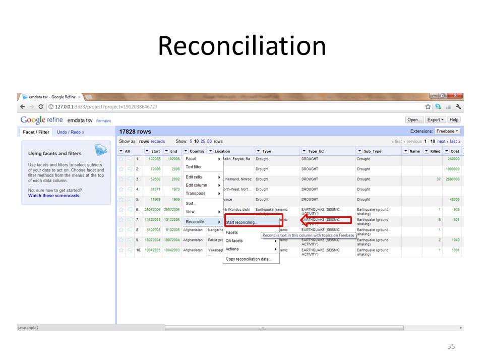 Reconciliation 35