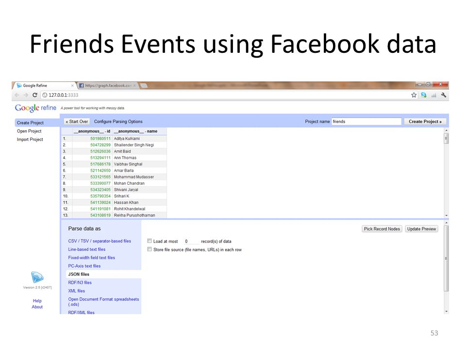 Friends Events using Facebook data 53