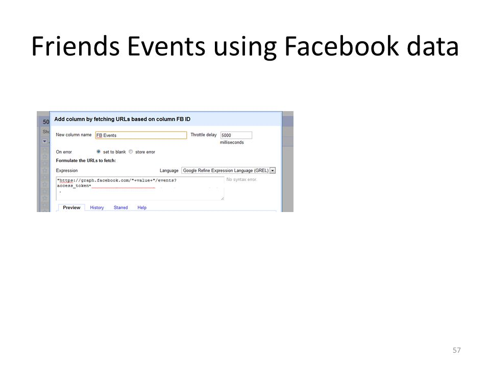 Friends Events using Facebook data 57