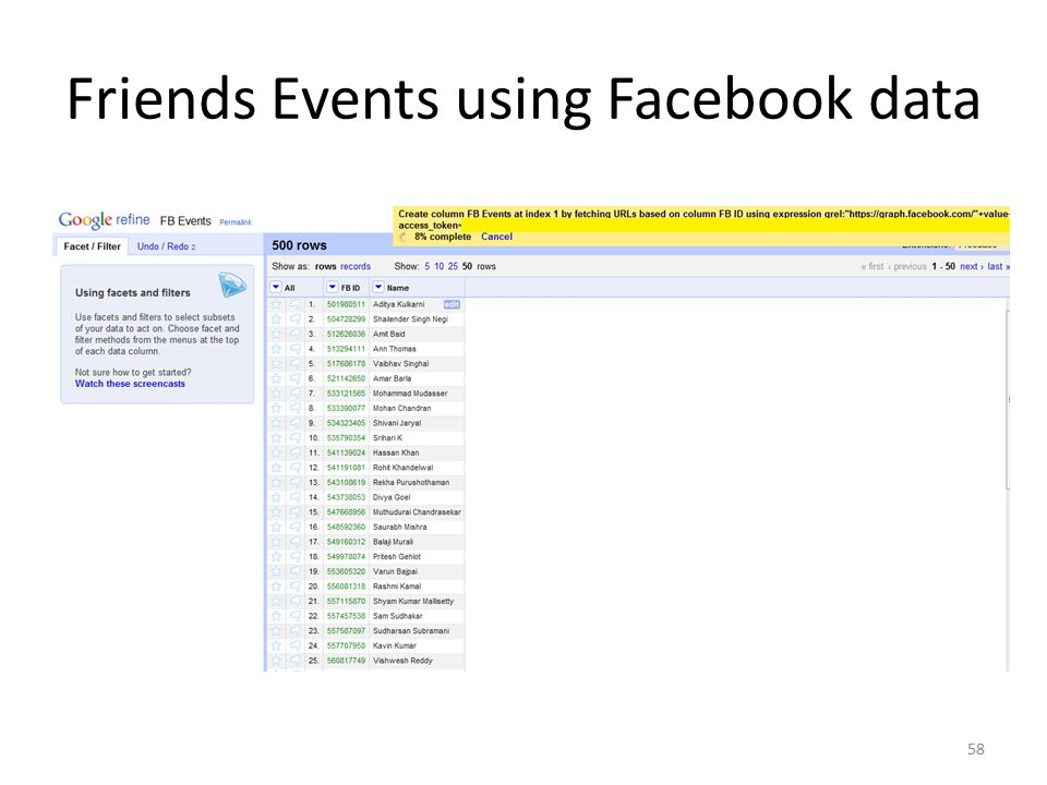Friends Events using Facebook data 58