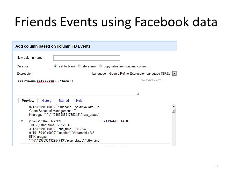 Friends Events using Facebook data 62