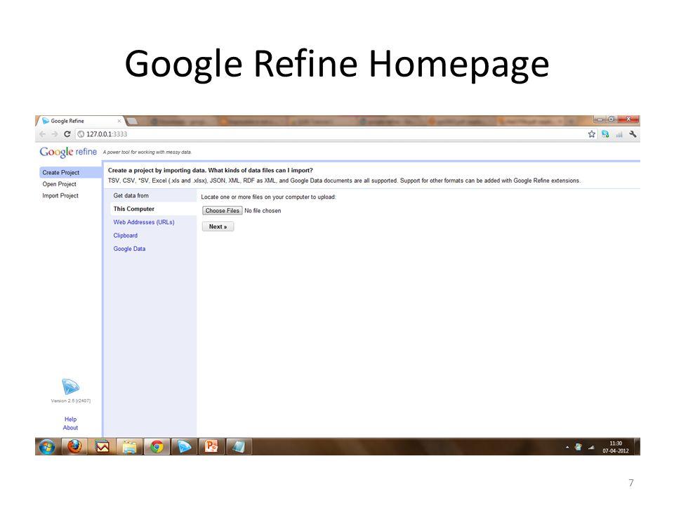 Google Refine Homepage 7