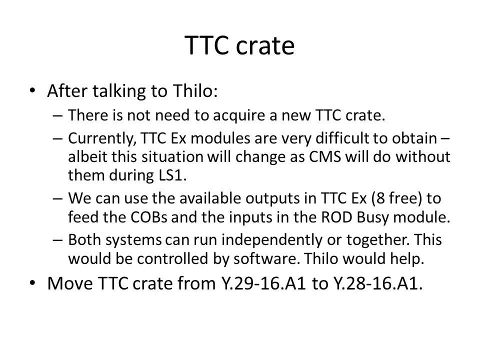 Rack Includes: – ATCA shelf: 14U – TDI x 2: 1U x 2 = 2U – TTC crate: 6U – F/O box: 3U Heat exchangers provided by OPM.