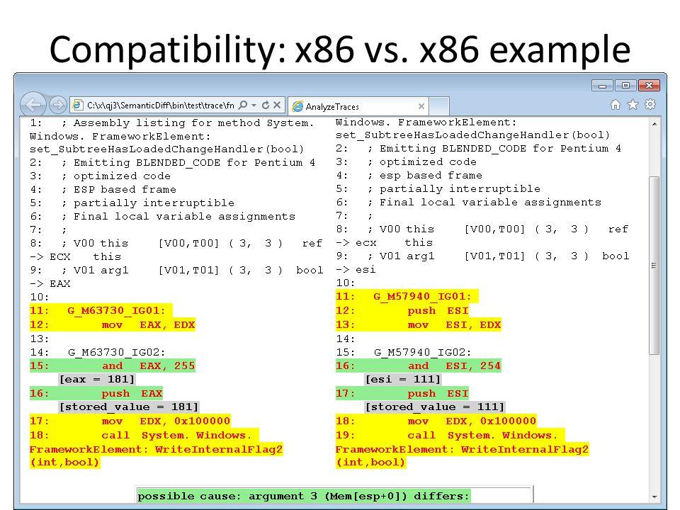 Compatibility: x86 vs. x86 example