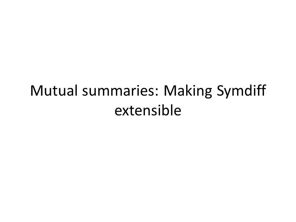 Mutual summaries: Making Symdiff extensible