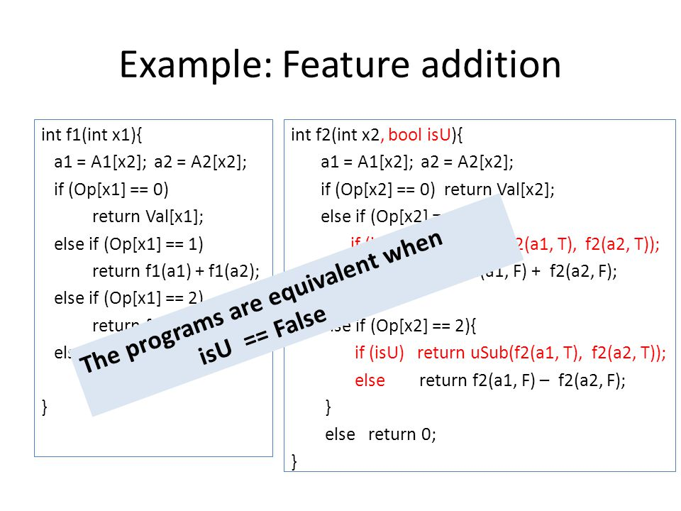 Example: Feature addition int f1(int x1){ a1 = A1[x2]; a2 = A2[x2]; if (Op[x1] == 0) return Val[x1]; else if (Op[x1] == 1) return f1(a1) + f1(a2); else if (Op[x1] == 2) return f1(a1) - f1(a2); else return 0; } int f2(int x2, bool isU){ a1 = A1[x2]; a2 = A2[x2]; if (Op[x2] == 0) return Val[x2]; else if (Op[x2] == 1){ if (isU) return uAdd(f2(a1, T), f2(a2, T)); else return f2(a1, F) + f2(a2, F); } else if (Op[x2] == 2){ if (isU) return uSub(f2(a1, T), f2(a2, T)); else return f2(a1, F) – f2(a2, F); } else return 0; } The programs are equivalent when isU == False