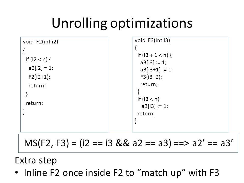 Unrolling optimizations void F2(int i2) { if (i2 < n) { a2[i2] = 1; F2(i2+1); return; } return; } void F3(int i3) { if (i3 + 1 < n) { a3[i3] := 1; a3[i3+1] := 1; F3(i3+2); return; } if (i3 < n) a3[i3] := 1; return; } Extra step Inline F2 once inside F2 to match up with F3 MS(F2, F3) = (i2 == i3 && a2 == a3) ==> a2' == a3'