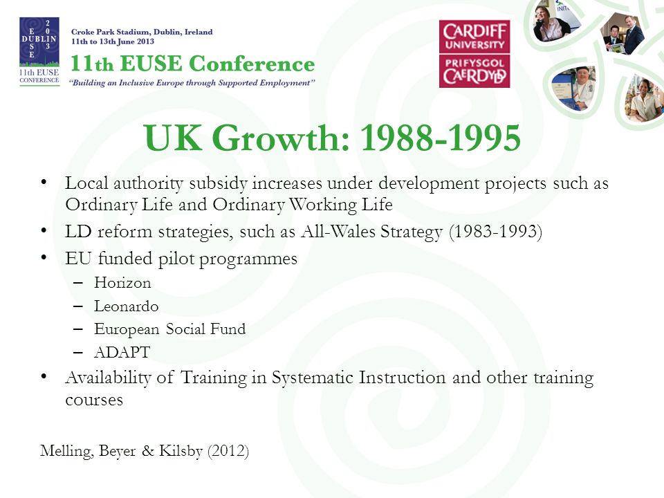 UK Growth: 1988-1995 Local authority subsidy increases under development projects such as Ordinary Life and Ordinary Working Life LD reform strategies, such as All-Wales Strategy (1983-1993) EU funded pilot programmes – Horizon – Leonardo – European Social Fund – ADAPT Availability of Training in Systematic Instruction and other training courses Melling, Beyer & Kilsby (2012)