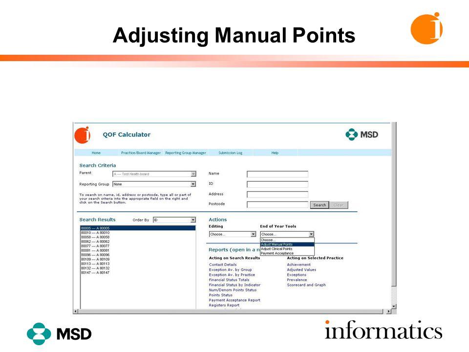 Adjusting Manual Points