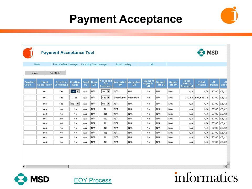 Payment Acceptance EOY Process