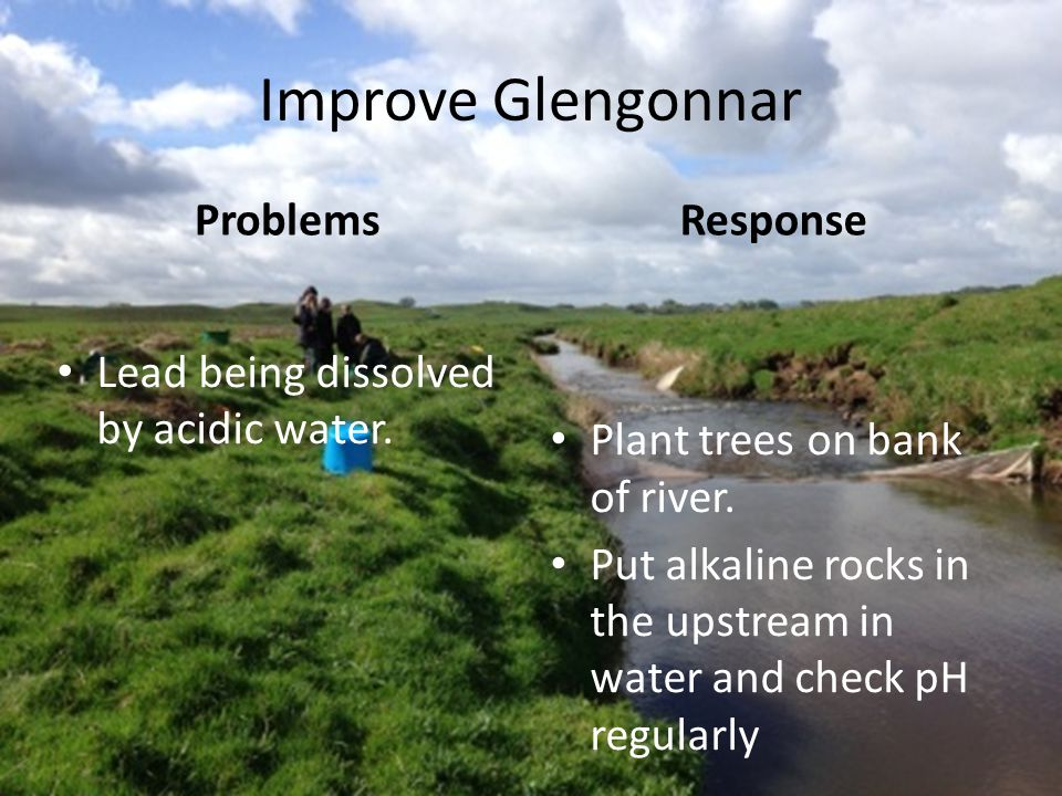 Improve Glengonnar Problems Lead being dissolved by acidic water. Response Plant trees on bank of river. Put alkaline rocks in the upstream in water a