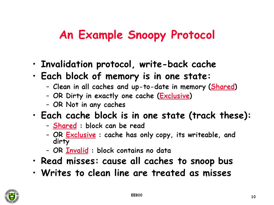 10 EE800 An Example Snoopy Protocol Invalidation protocol, write-back cache Each block of memory is in one state: –Clean in all caches and up-to-date