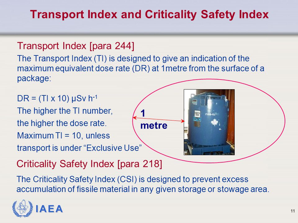 IAEA Transport Index [para 244] The Transport Index (TI) is designed to give an indication of the maximum equivalent dose rate (DR) at 1metre from the