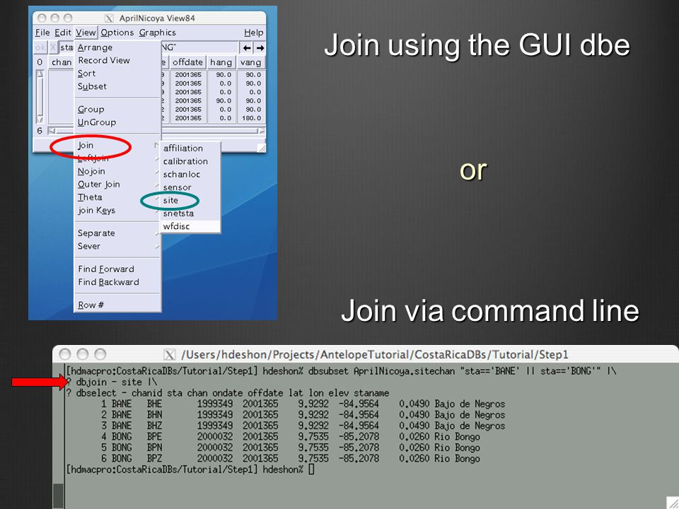 Join using the GUI dbe Join via command line or