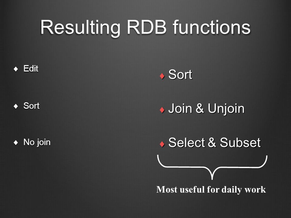 Resulting RDB functions  Edit  Sort  No join  Sort  Join & Unjoin  Select & Subset Most useful for daily work