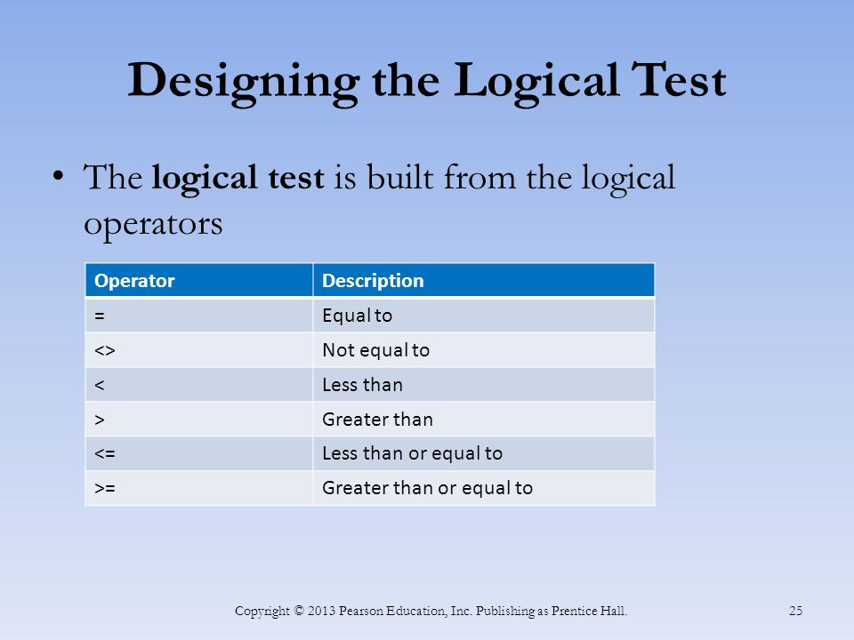 Designing the Logical Test The logical test is built from the logical operators Copyright © 2013 Pearson Education, Inc.