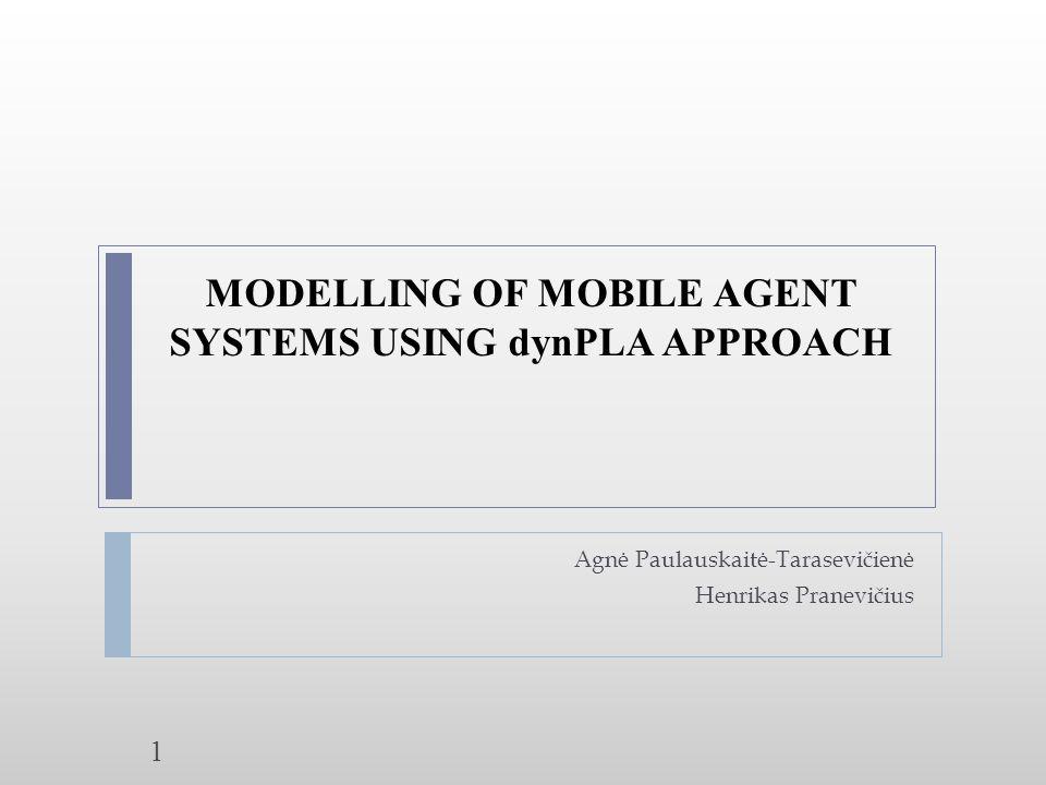 MODELLING OF MOBILE AGENT SYSTEMS USING dynPLA APPROACH Agnė Paulauskaitė-Tarasevičienė Henrikas Pranevičius 1