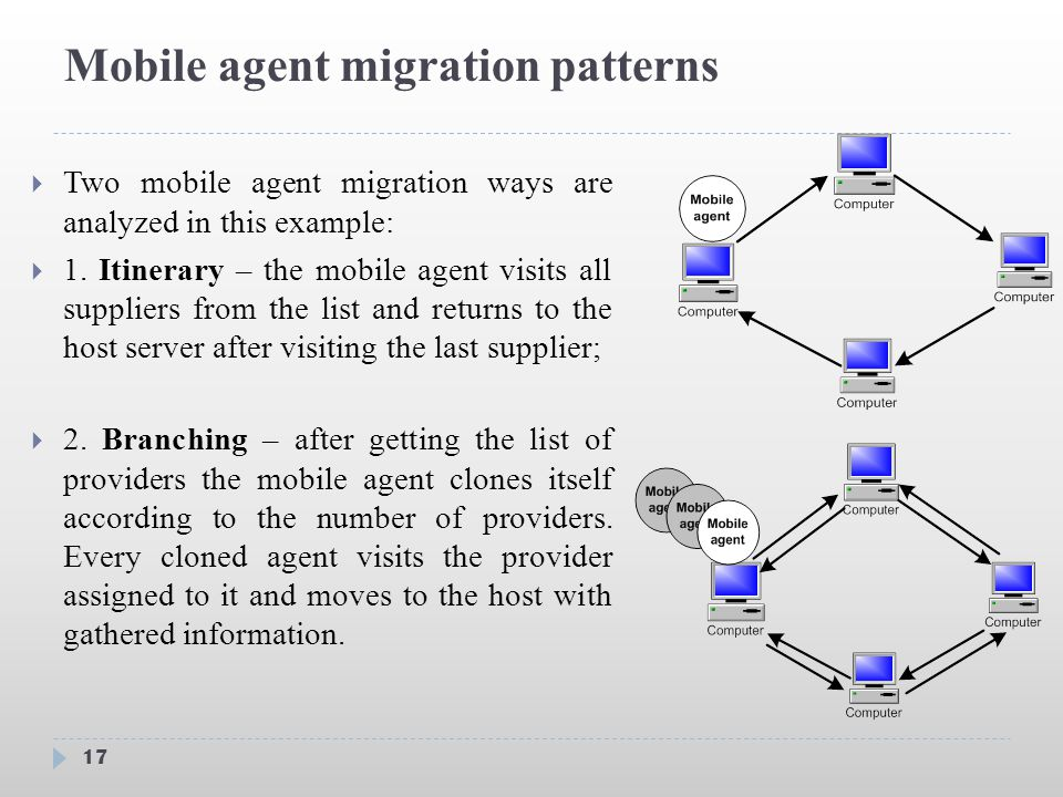 Mobile agent migration patterns 17  Two mobile agent migration ways are analyzed in this example:  1.