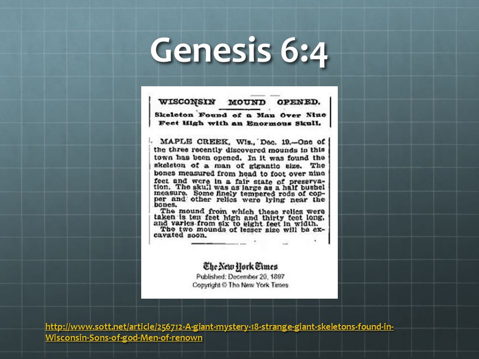 Genesis 6:4 Q: Who were the Nephilim.