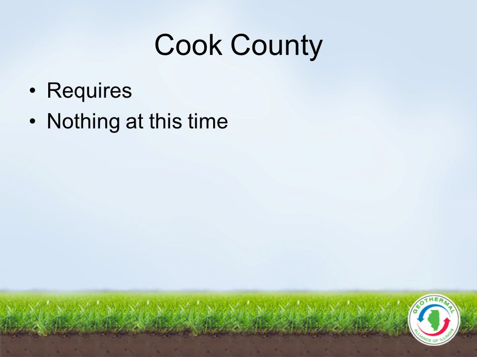 Cook County Requires Nothing at this time