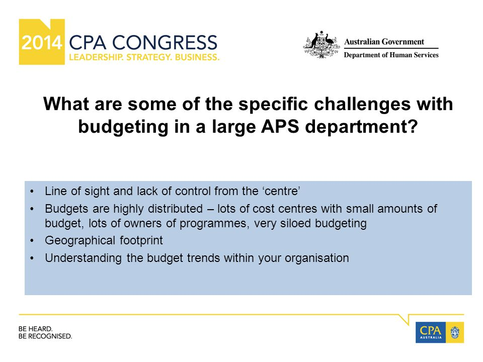 What are some of the specific challenges with budgeting in a large APS department.