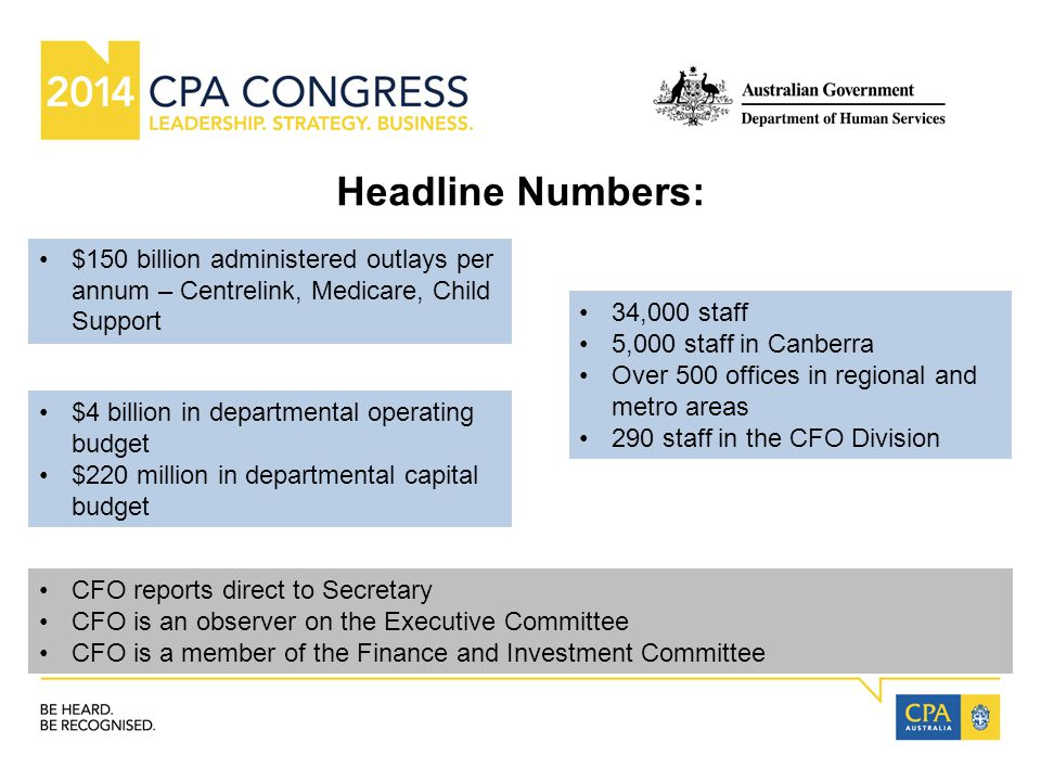 Headline Numbers: 34,000 staff 5,000 staff in Canberra Over 500 offices in regional and metro areas 290 staff in the CFO Division $4 billion in departmental operating budget $220 million in departmental capital budget CFO reports direct to Secretary CFO is an observer on the Executive Committee CFO is a member of the Finance and Investment Committee $150 billion administered outlays per annum – Centrelink, Medicare, Child Support