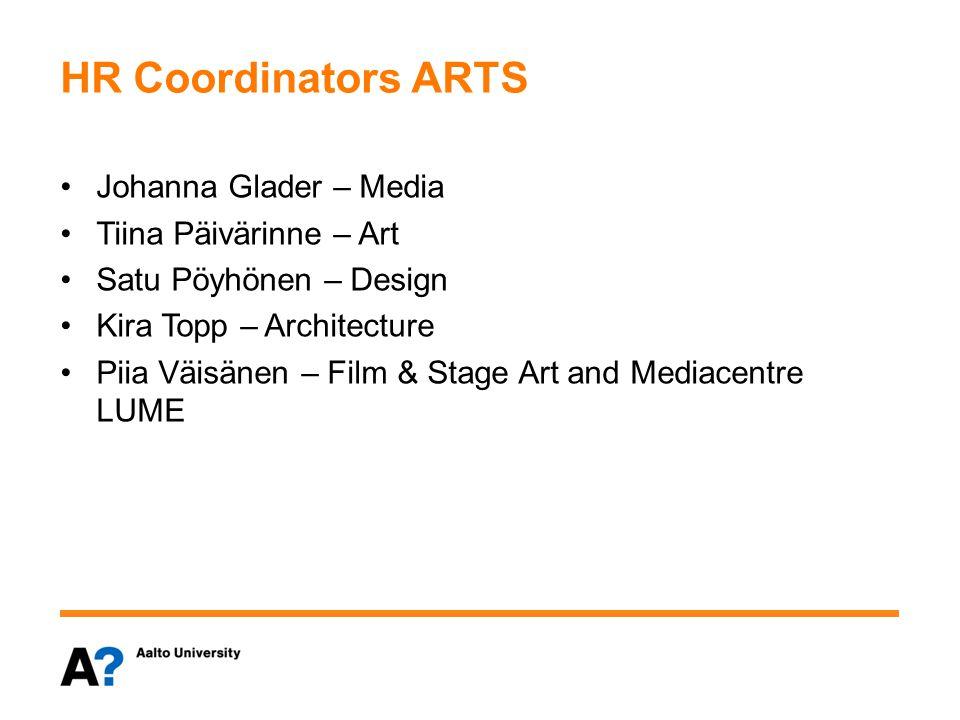 HR Coordinators ARTS Johanna Glader – Media Tiina Päivärinne – Art Satu Pöyhönen – Design Kira Topp – Architecture Piia Väisänen – Film & Stage Art and Mediacentre LUME