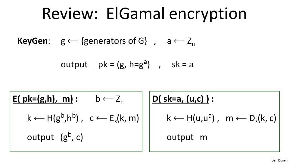 Dan Boneh Review: ElGamal encryption KeyGen:g {generators of G}, a Z n output pk = (g, h=g a ), sk = a D( sk=a, (u,c) ) : k H(u,u a ), m D s (k, c) output m E( pk=(g,h), m) : b Z n k H(g b,h b ), c E s (k, m) output (g b, c)