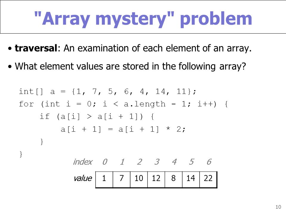 10 Array mystery problem traversal: An examination of each element of an array.