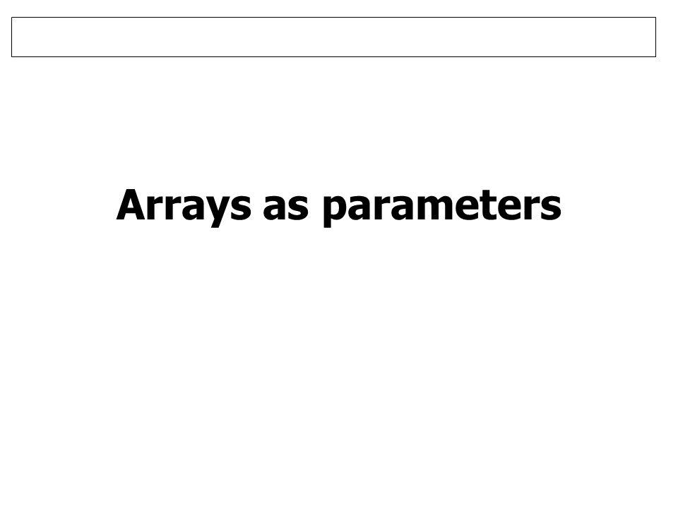 Arrays as parameters