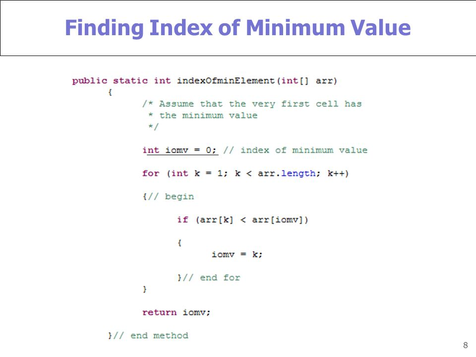 8 Finding Index of Minimum Value