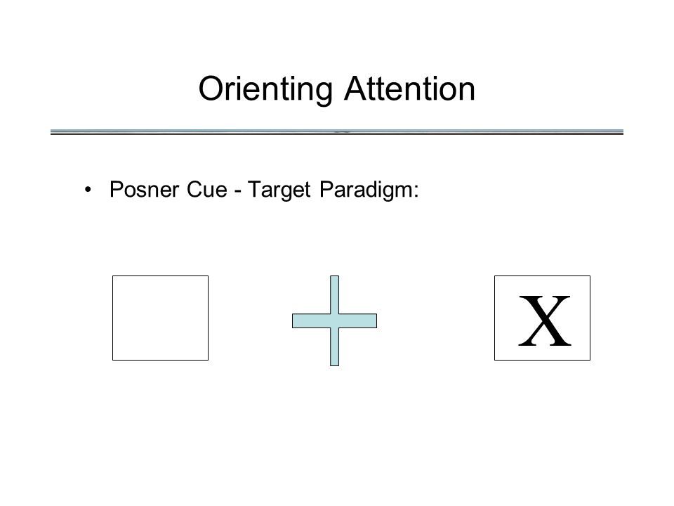 Orienting Attention Posner Cue - Target Paradigm: X