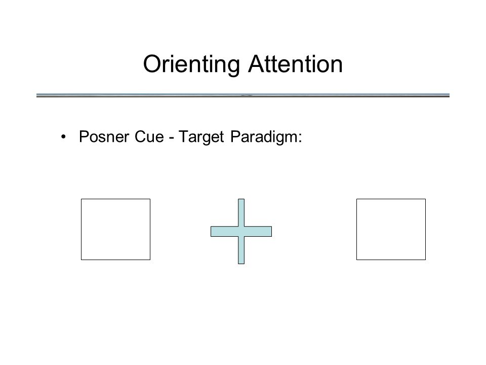 Orienting Attention Posner Cue - Target Paradigm: