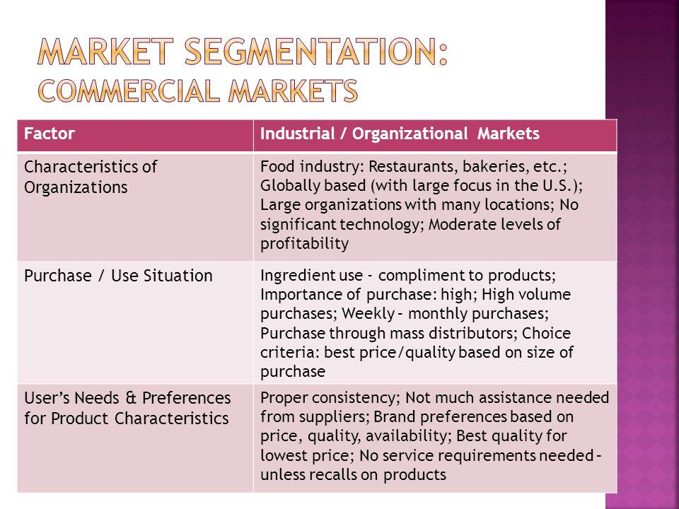 FactorIndustrial / Organizational Markets Characteristics of Organizations Food industry: Restaurants, bakeries, etc.; Globally based (with large focu