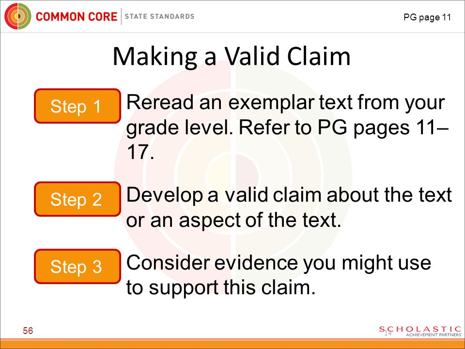 14 Making a Valid Claim 56 PG page 11 Step 1 Reread an exemplar text from your grade level.