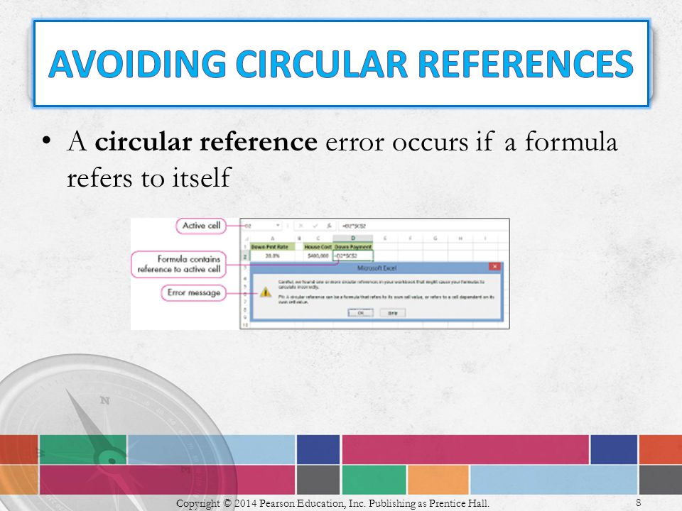 A circular reference error occurs if a formula refers to itself 8 Copyright © 2014 Pearson Education, Inc.